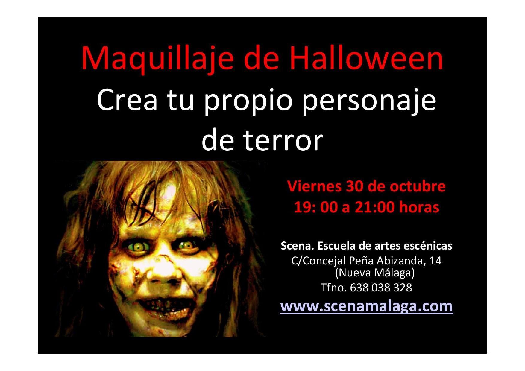 Cartel del taller de maquillaje de Halloween